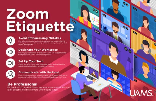 Zoom etiquette flyer. It includes the same information included on this page.
