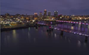 Aerial view of downtown Little Rock and the Arkansas River