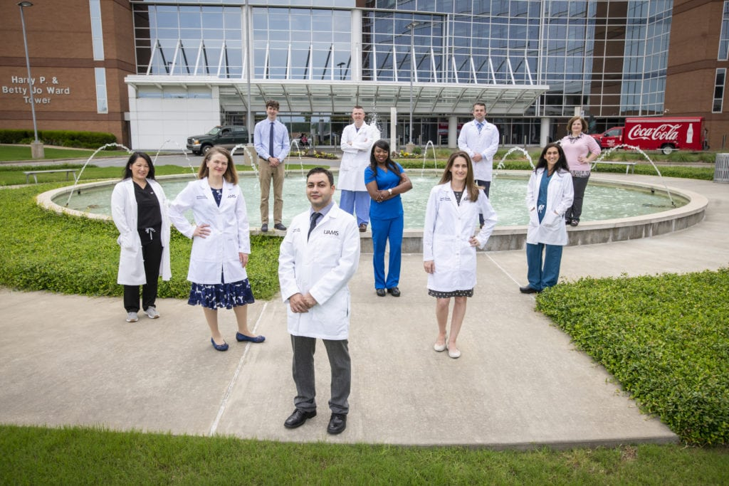 Obstetric Anesthesia group posing outside the UAMS Medical Center