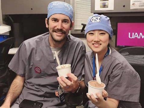 two residents eating ice cream