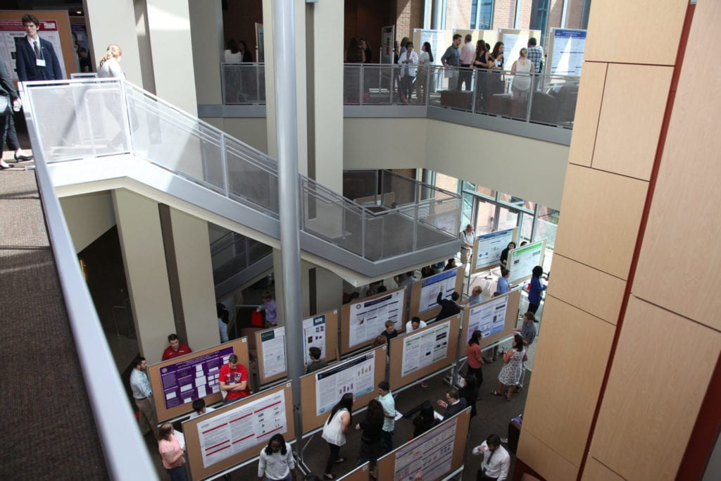 image of I Dodd Wilson lobby filled with research posters and participants