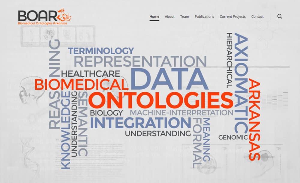 BOAR website graphic, showing a word collage, including: data, biomedical, ontologies, integration, biology, understanding, genomic, representation, reasoning, knowledge, understanding, semantic, machine-interpretation, hierarchical, axiomatic, Arkansas