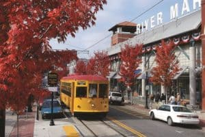 River Market in the fall with a streetcar in the front