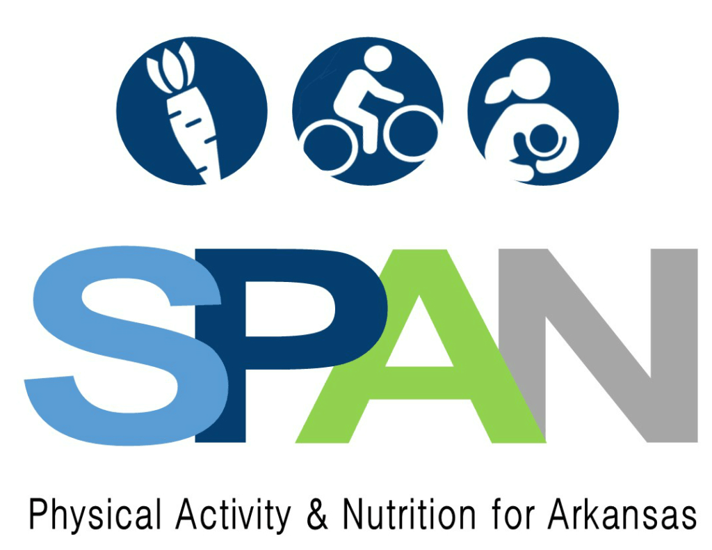 SPAN Logo. The graphic includes icons for healthy food, exercise, and breastfeeding. Text reads: SPAN: Physical Activity and Nutrition for Arkansas.