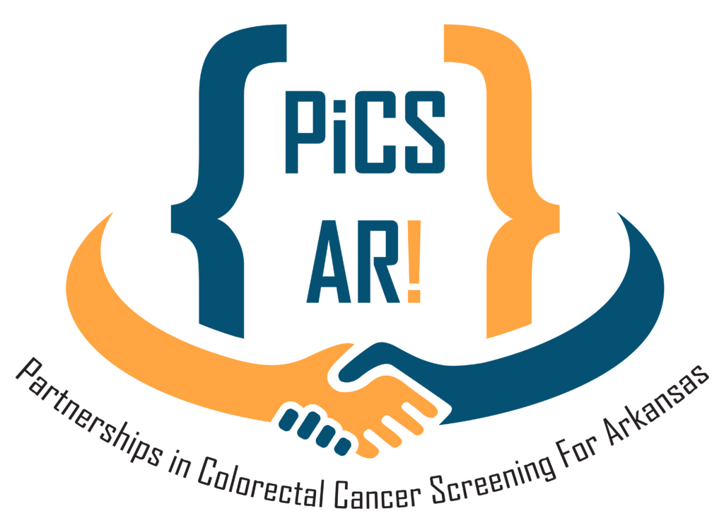 logo of PiCS AR! - text reads PiCS AR! Partnerships in Colorectal Cancer Screening for Arkansas