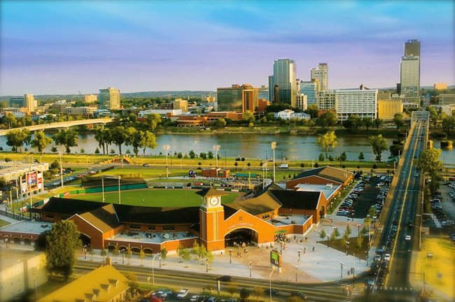 Aerial shot of Dickey-Stephens ballpark
