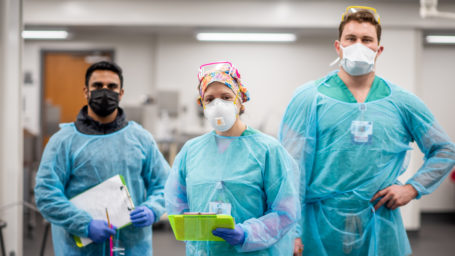 PMR residents in cadaver lab