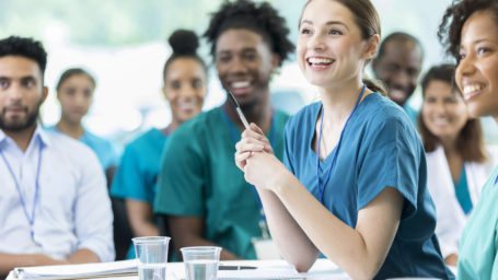 Medical students listening in class