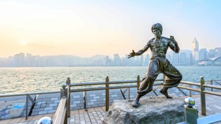 Bruce Lee statue by Victoria Harbor in Hong Kong
