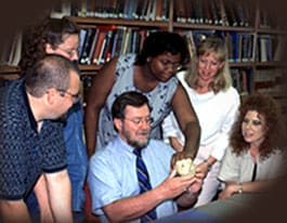 Dr. Burns interacting with teachers
