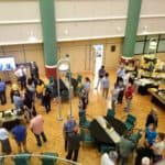 wide shot of mingling guests