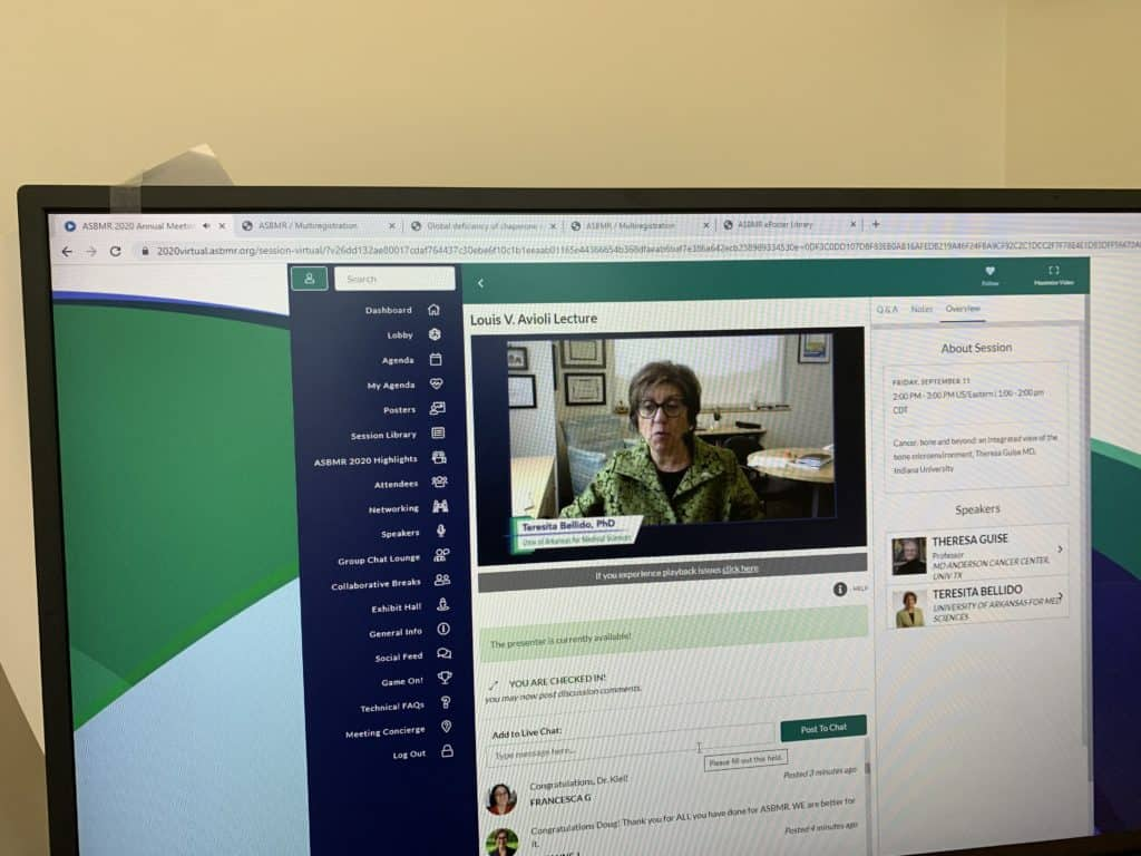 Shot of a computer screen showing Dr. Bellido hosting the virtual conference