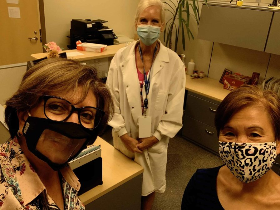 Dr. Bellido with Dr. Wight and Dr. Rosalia Simmen, wearing masks