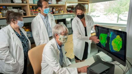 Dr. Brian Storrie with colleagues examining an image on a computer monitor