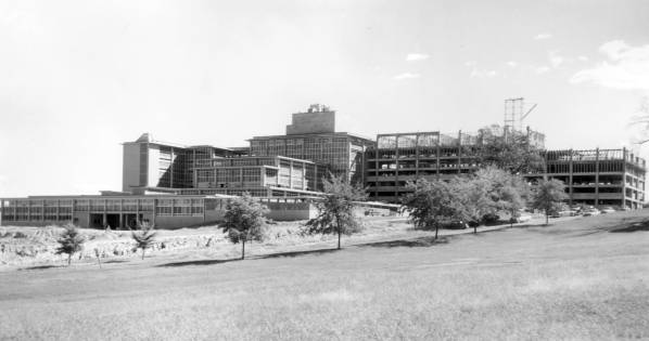 Construction picture of University Hospital, 1956