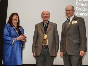 Dr. Davies wearing endowment medallion, with Dr. Childs and Dr. Westfall.