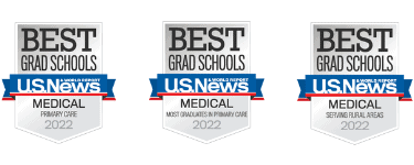 US News and World Report Primary Care, Most Graduates in Primary Care, and Serving Rural Areas badges