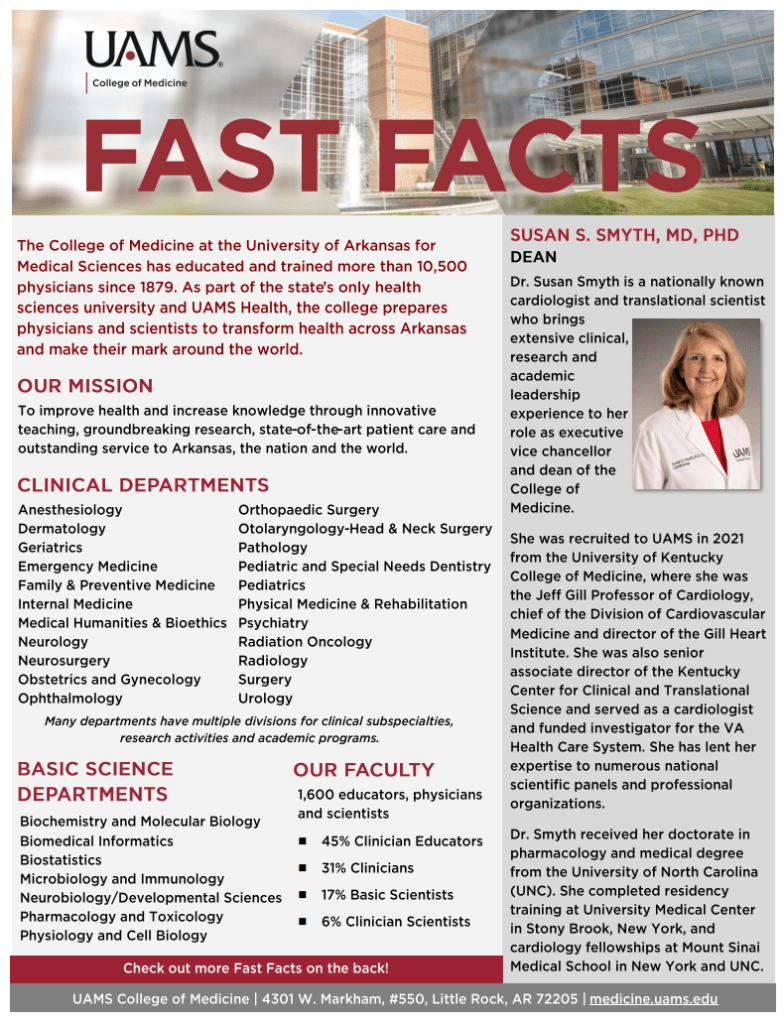Image of the UAMS Fast Facts printed flyer, including the same information included on this web page.